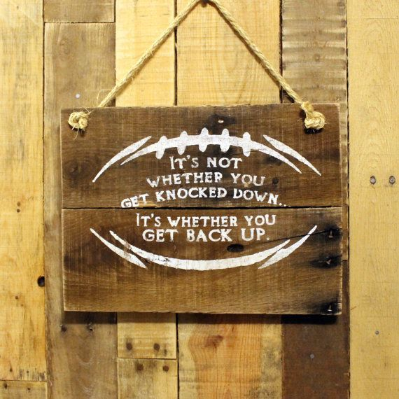 Boys Room Decor - Hand Painted Reclaimed Pallet Wood Sign - Football Sign…