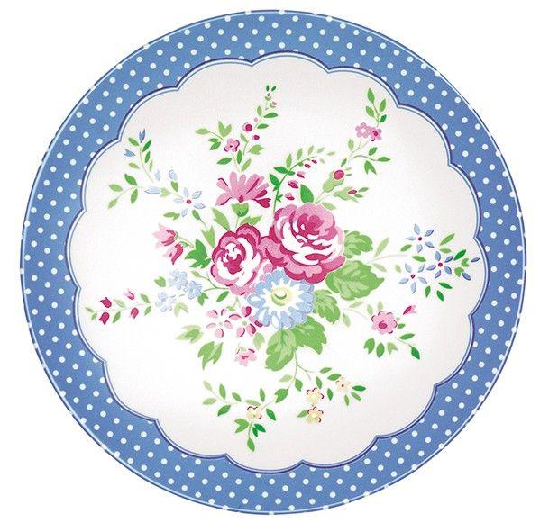 GreenGate Melamine Plate Agnes White D 20 cm
