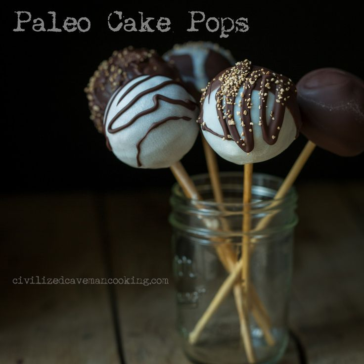 Paleo Cake Pops Ingredients Cake pops      1/2 cup dark chocolate chips (enjoy life is best)     1/2 cup coconut milk (thick fat from top of can)     2...