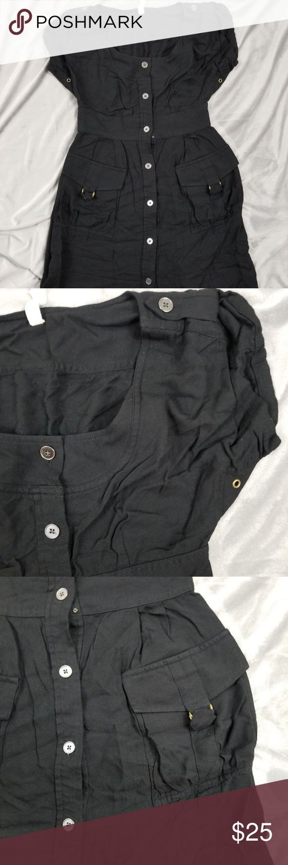 "Anthropologie Maeve Black Button Down Cargo Dress Pre-owned Anthropologie Maeve NWT Black Button Down Cargo Pocket STAYSAIL SHIRT Dress 2  Bust: 17"" Waist: 13 3/4"" Hip: 19 1/2"" Length: 35 1/2""  Please review item photos carefully. Please ask questions about this item. All items come from a smoke free home. We ship Monday thru Friday. Check out our other items for sale!  Item Location:045 Anthropologie Dresses"