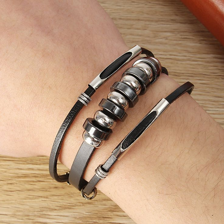 Cute Punk Unisex Bracelet Leather Beads Health Bracelet for Her Him - NewChic