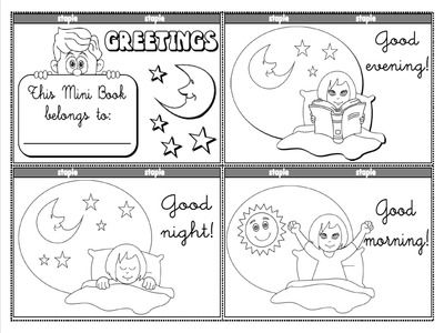 Greetings and Names - Colouring Mini Book