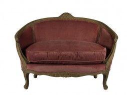 Sede Sofa amore baldacchino di quercia e tessuto rosa velluto WE7MVR