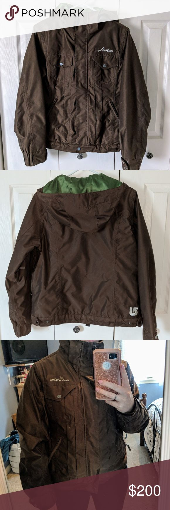 Burton snow jacket coat women's medium Deep brown waterproof outside, with grass green satin lining. Has zippered air vents in armpits. Adjustable sizing around waist and wrists (bungee band also so snow can't come in). No holes or defects! Pockets everywhere haha I just moved down south and no longer need a cold weather coat 😭 comes from a clean smoke free home. Great for snowboarding or skiing... Or in my case, tubing 😂🤣 Burton Jackets & Coats Utility Jackets