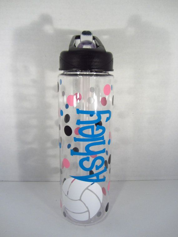 Personalized water bottle - volleyball, basketball or other sport - NEW - many designs - mix,  match - clear plastic, BPA free with flip top
