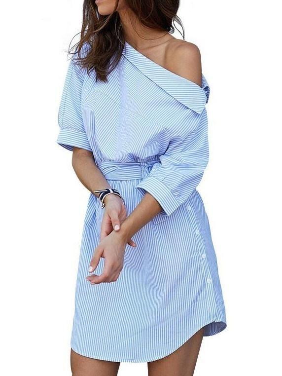 Fashion Stripe Oblique Shoulder Belted Shirt Dress – Anastasia