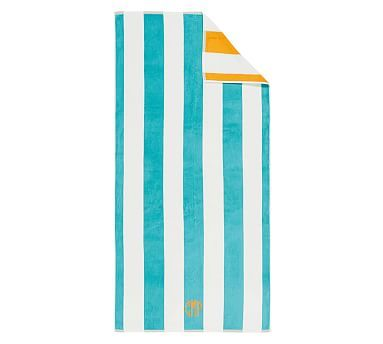 "Reversible Awning Stripe Beach Towel, 40 x 72"", Aqua"