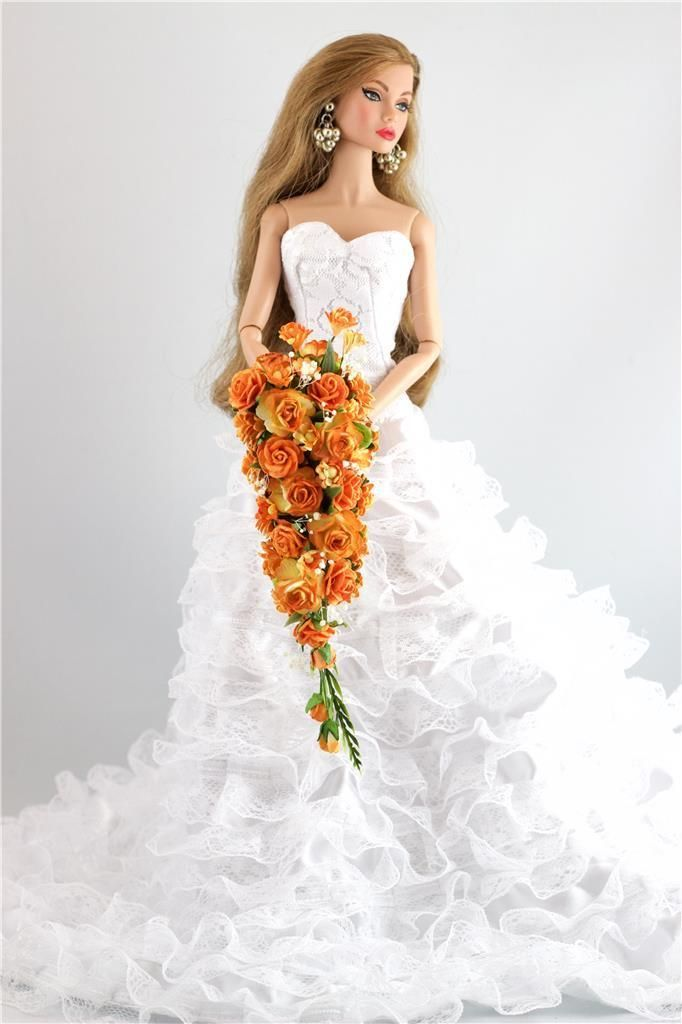 Stunning Cascading Wedding Bouquet, Handcrafted by Me, All my Bouquets are One of a kind. Beautiful Orange 2 toned Roses, solid orange roses and orange flowes, with a variety of Greens and Babys breath. | eBay!