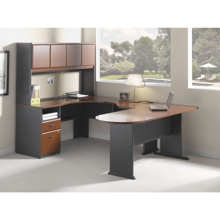 series a single pedestal lshape computer desk with hutch