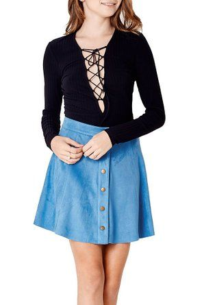 """Women's Fashion Trendy Button Down Faux Suede High Waist Skirt 