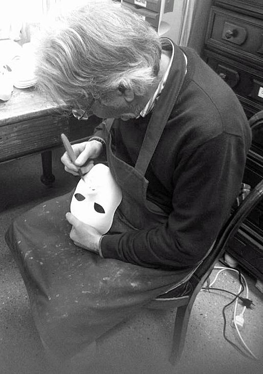 Carlo Marega working on new masks at his Atelier in Venice for Carnival 2015. He still use the traditional Venetian technique to create his masks. www.marega.it