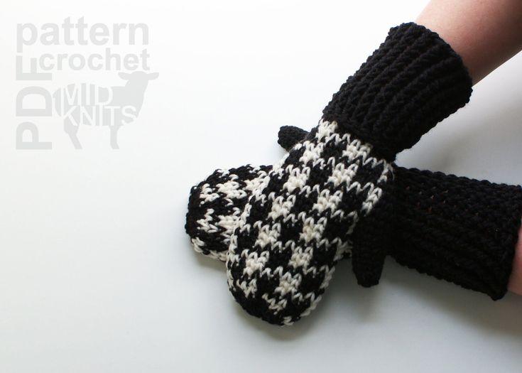 DIY Crochet PATTERN Crochet Houndstooth Mittens by Midknits