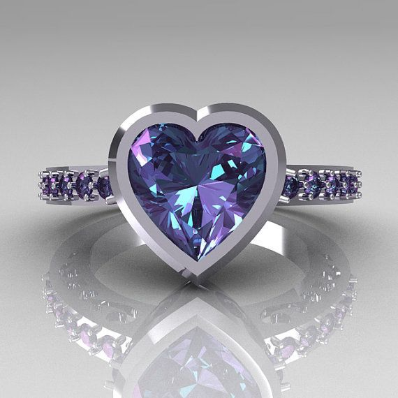 ☆ 14K White Gold 2.10 Carat Heart Alexandrite Ring ☆