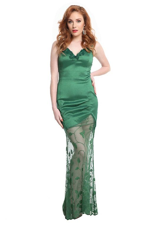 DC Comics Poison Ivy Formal Dress, GREEN   hot topic I love this dress and I could so make it. Yeah baby