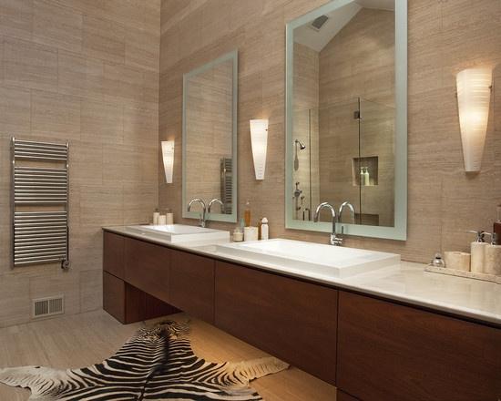 Image Of Ranch House Bathroom Renovation contemporary Bathroom Atlanta Joel Kelly Design mirrors w green glass and sinks