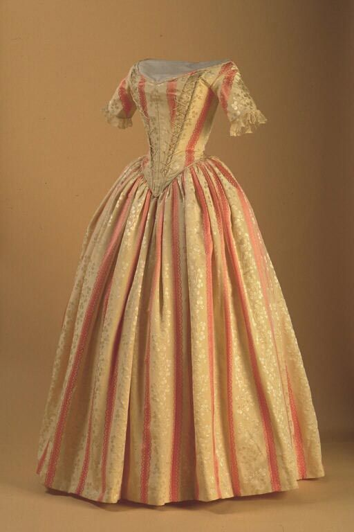 Evening Gown C 1840 Of Brocade Silk And Wool New