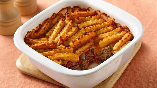Enjoy this great casserole made using ground beef, vegetables, cheese and French-fried potatoes that's ready in 45 minutes.