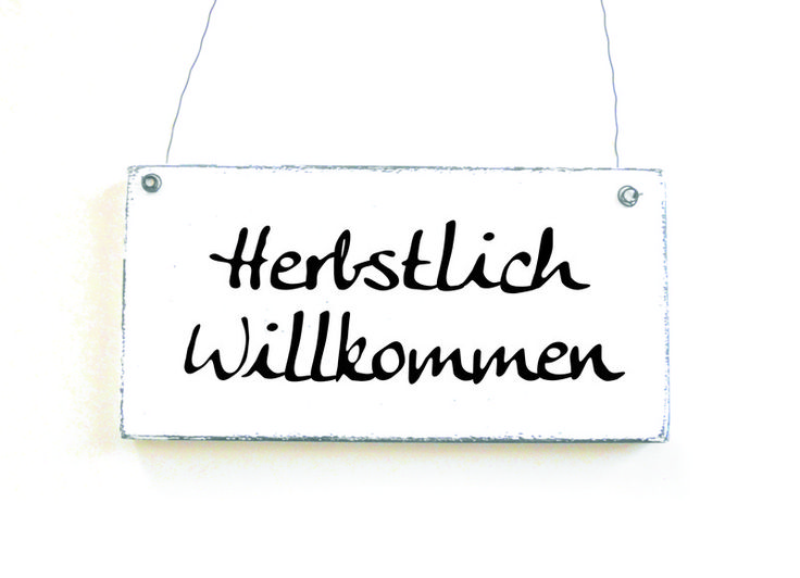 HERBSTLICH WILLKOMMEN Holzschild Türschild Shabby von DöRPKIND auf DaWanda.com