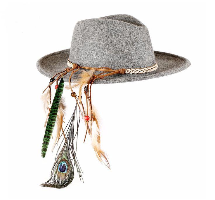 Feathered Fedora Brim Hat