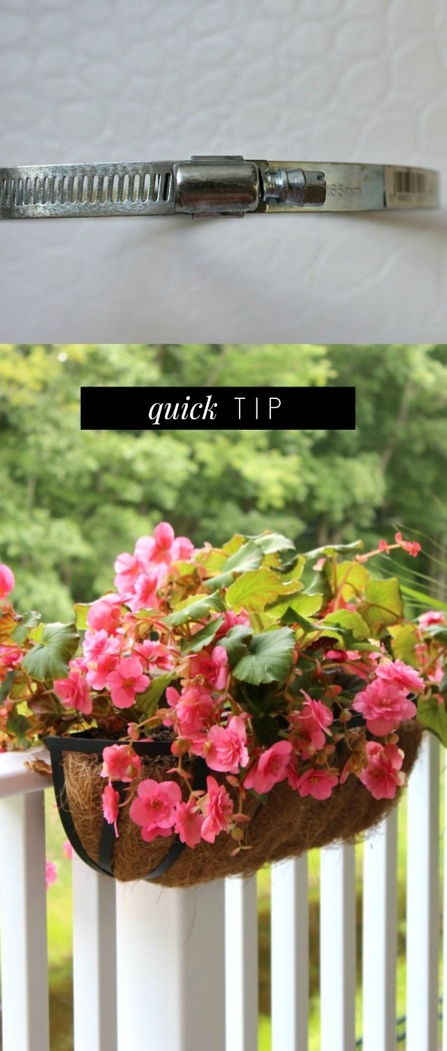 """Use a 6"""" Worm Gear Clamp to Hang a Planter - it's damage free. Weave it through the planter's metal frame, then grip it around your railing. It's adjustable."""