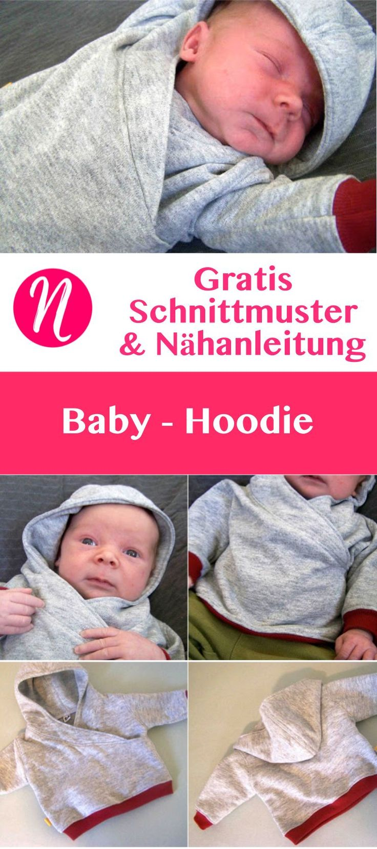 Baby-Hoodie selber nähen - 0 - 3 Monate - Kostenloses PDF-Schnittmuster zum Ausdrucken - Foto-Tutorial ✂ Nähtalente - Magazin für kostenlose Schnittmuster ✂ - Free sewing pattern for a baby hoodie. For 0 - 3 month