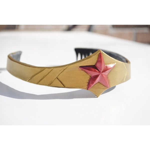 Wonder Woman Tiara ($60) ❤ liked on Polyvore featuring costumes, dc, wonder woman costume and wonder woman halloween costume