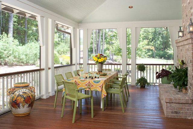 Deck ideas: ceiling, contrasting rail that matches the floor.