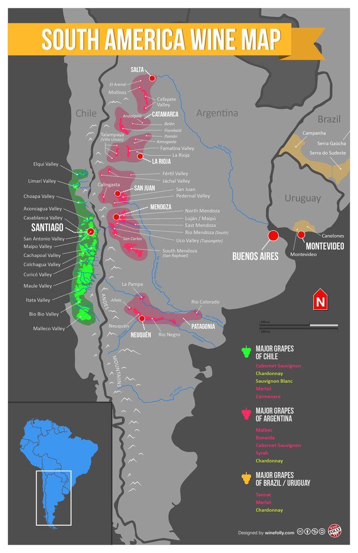South America Wine Region Map