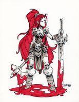 Inktober Day 20 - Red Sonja by DerekLaufman