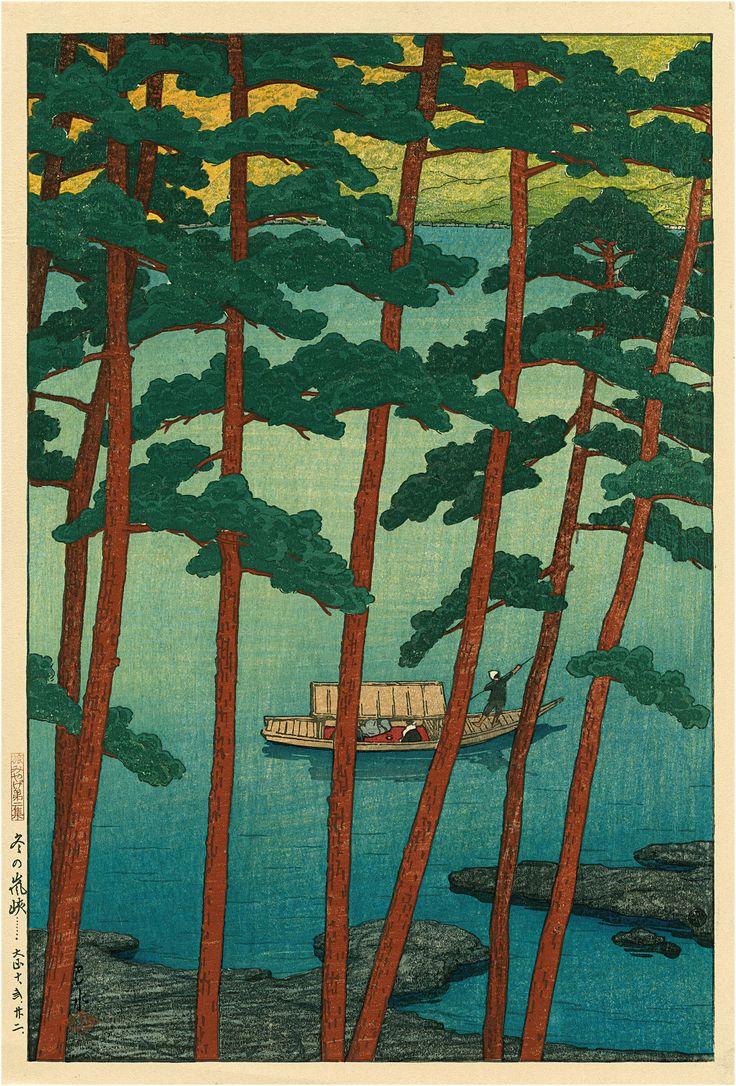WINTER AT ARASHI, Kawase Hasui (1883-1957), 1921, P0801. Elise Wessels Collection – Nihon no hanga