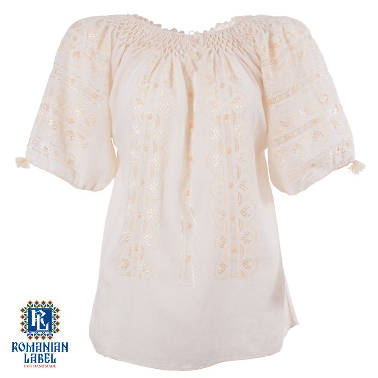 $113.34 A 100% hand made traditional blouse, exclusively tailored out of natural materials, such as ivory cotton and gold silk embroidery.