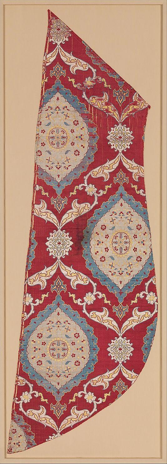 Fragment  Date:     16th century Geography:     Turkey, Bursa Culture:     Islamic Medium:     Silk, metal wrapped thread; lampas (kemha)