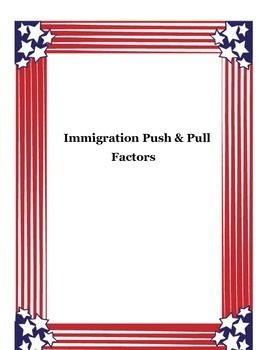 "A prefect activity to come up with reasons for ""why"" people immigrate.  Students can work alone, in pairs, groups or as a class to complete this chart. #whydopeopleimmigrate #pushfactor #pullfactor #immigrationlesson #middleschool"