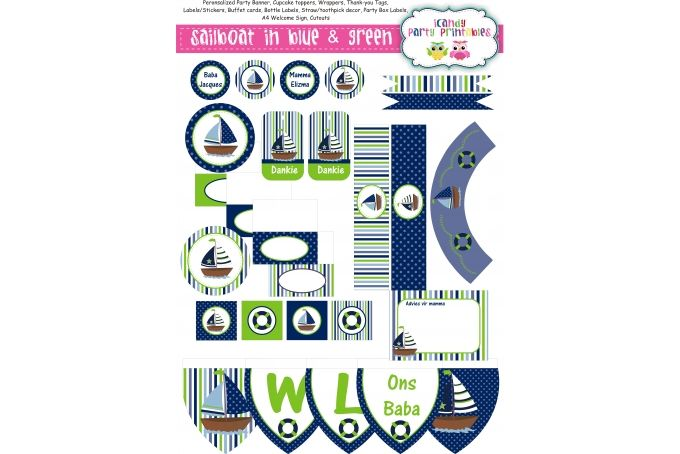 SAILBOAT - BLUE & GREEN by iCandy Party Printables on hellopretty.co.za