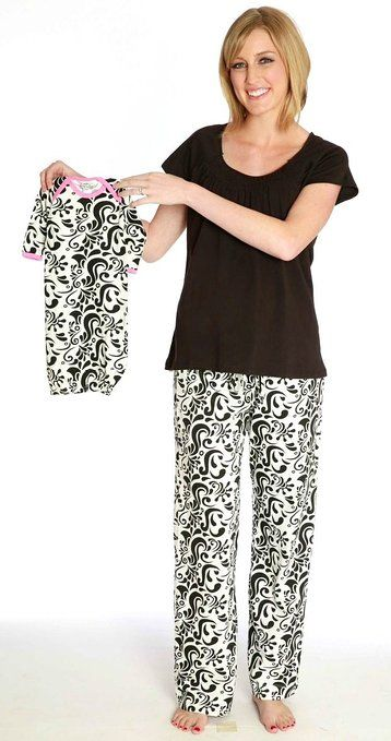 10e5b8cb97 Baby Be Mine Women s Nursing Pajamas Set with Matching Baby Outfit-  Black and White