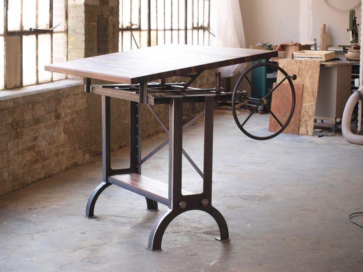 Beautiful Custom Made Large Walnut Industrial Drafting Table Desk