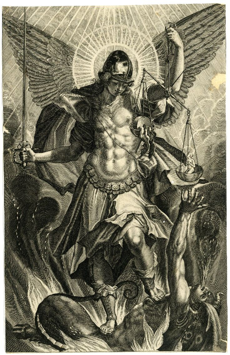 Print made by Raphael Sadeler II  After Pieter de Witte  Date 1604   Description St Michael in armour at centre, standing on the dragon whose last breath escapes from his mouth, the archangel holding a sword in his right hand and a balance in his left hand; lower margin with date and inscription cut; after Pieter de Witte. 1604