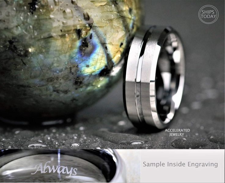 8MM Mens Beveled Satin Silver Tungsten With High Polish Center Groove Wedding, Engagement, Anniversary Ring, Custom Laser Engraved Inside by AcceleratedJewelry on Etsy https://www.etsy.com/au/listing/498381604/8mm-mens-beveled-satin-silver-tungsten