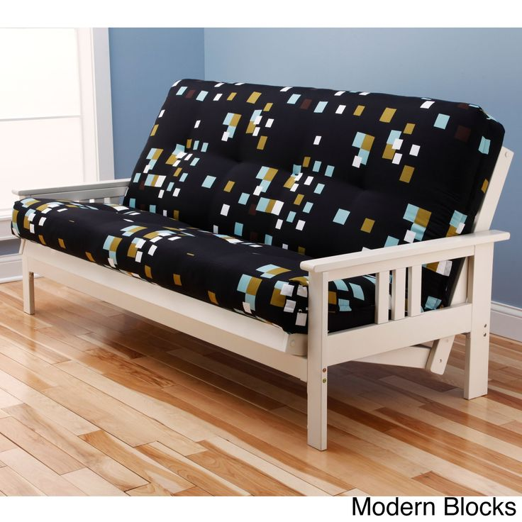 Somette Beli Mont Multi-Flex Antique White Wood Futon Frame with Innerspring Mattress (Modern Blocks), Black, Size Full