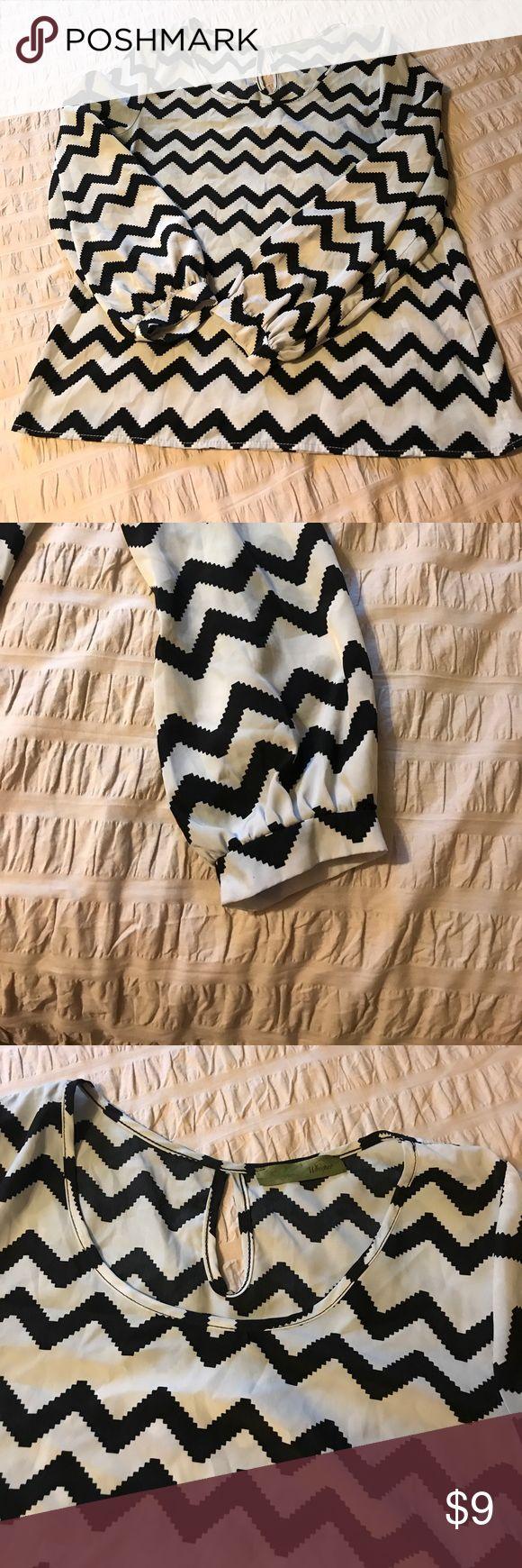 🔥Chevron blouse NWOT chevron blouse. Light grey & black. Size medium. Loop in the back whisper Tops Blouses
