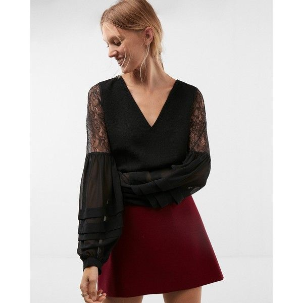 Express Petite Lace Blouson Sleeve V-Neck Blouse (690 MXN) ❤ liked on Polyvore featuring tops, blouses, black, petite blouses, pleated blouse, petite tops, v neck blouse and lace v neck top