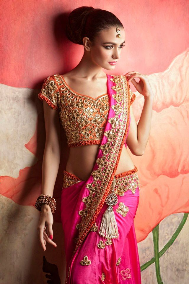 .Pink and orange sari by Maheka Mirpuri