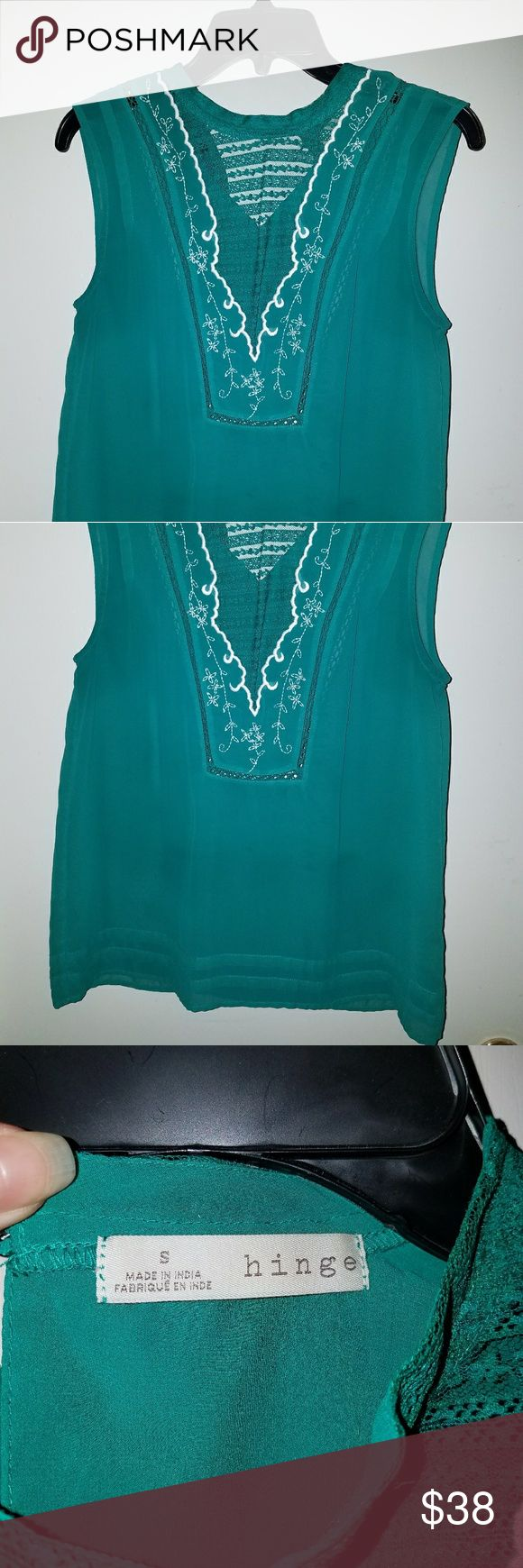*50% OFF SALE* Hinge Turquoise Blouse Beautiful, unique blouse with DETAILED embroidery! I've never seen another top quite like this. Only worn a few times. Classy and elegant. 100% Polyester. Can be washed in machine with like colors. Tops Blouses