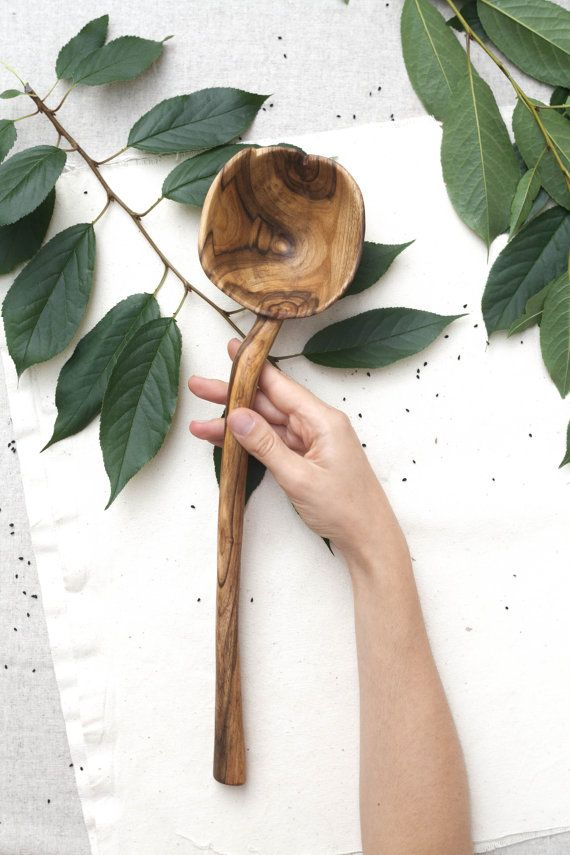 large walnut spoon big cooking spoon unique spoon by belayahvoya