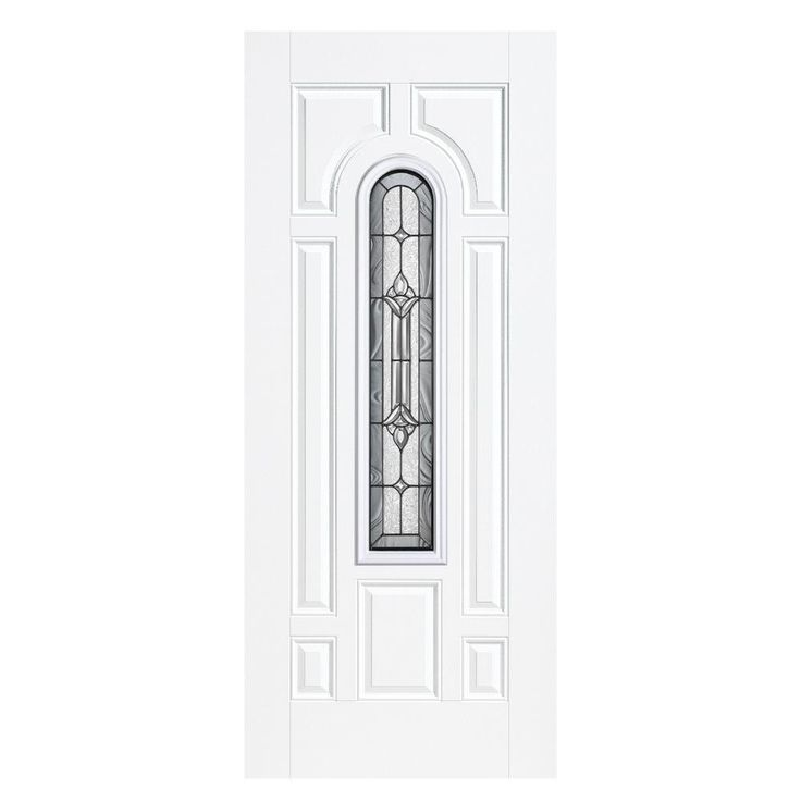 Masonite 36 in. x 80 in. Providence Center Arch Primed Steel Prehung Front Door with No Brickmold, Primed White