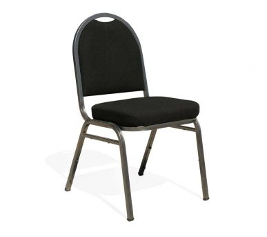 SERATA: This distinctively finished padded banquet chair is lightweight, stackable and a great choice for events seating, conference venue seating or dining seating. Made on a hard wearing powder coated steel frame, padded plywood base and back and upholstered in commercial grade fabric the Banquet conference chair has a 15 year limited warranty.