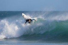 JC Susan bounces off the lip in hollow waves at St Kilda Beach, Dunedin, New Zealand.
