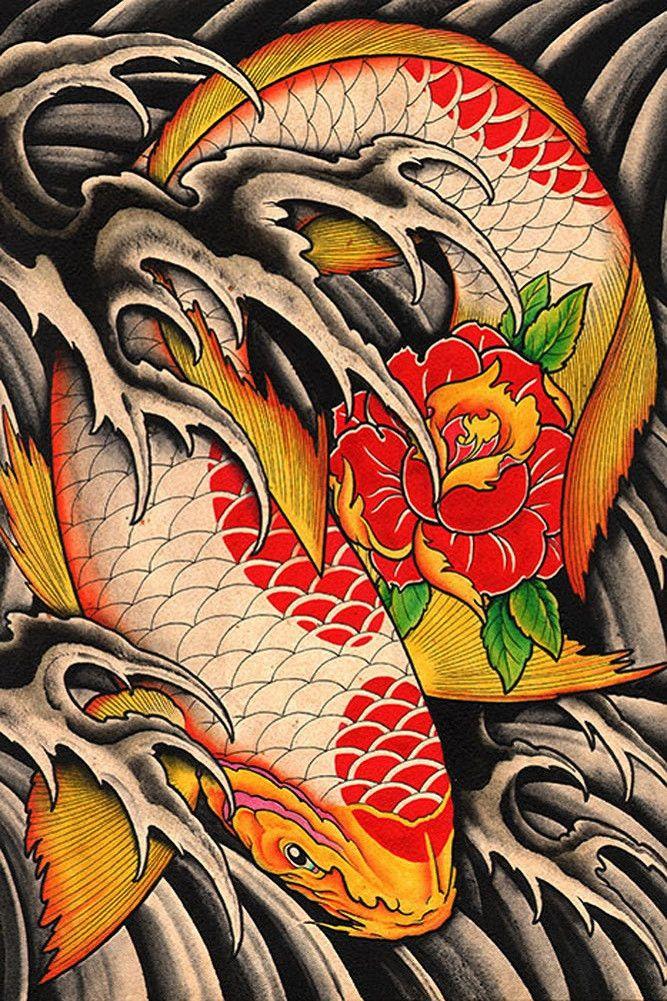 Lifes Journey by Clark North Koi Fish Pond Framed Tattoo Art Print