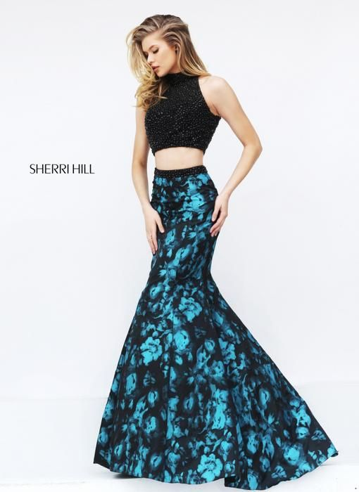 Beaded Sherri Hill 50674 Two Piece Mermaid Print Evening Dress