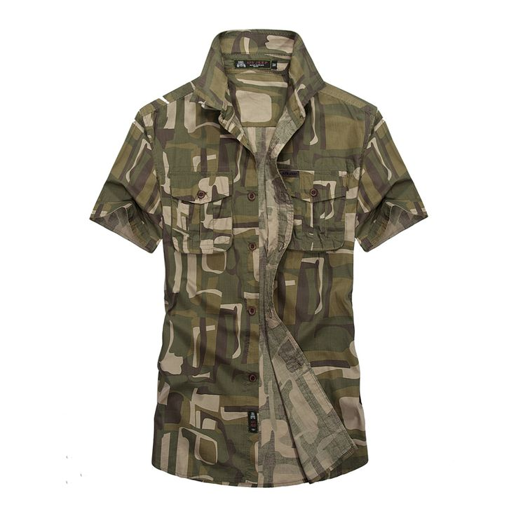 AFS JEEP camouflage shirt men 2016 Summer good quality men's fashion casual brand short shirt man 100% cotton solid tops 1691 #Affiliate
